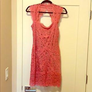 Nicole Miller Pink Lace Cutout dress